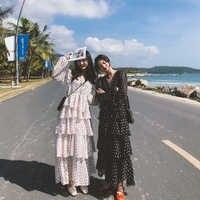 Femmes Vintage cascade à volants robe décontracté Dot imprimer bohème Patchwork dames robe v-cou Saxy femme plage Boho robe