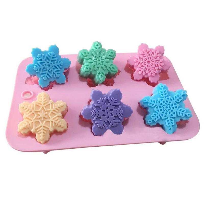 6-Piece Different Patterns Christmas Snowflake Oriental Cherry Shaped Silicone Cake Mold DIY Handmade Soap Mold
