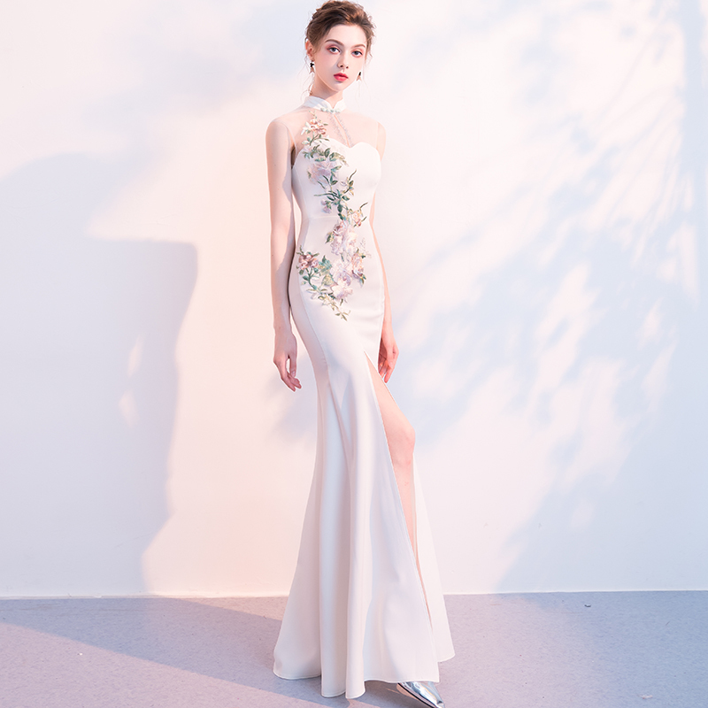 Chinese Style Evening Dress With Split White Oriental Collars Woman Banquet Noble Grace Sexy FishTail Long Qipao Cheongsam Dress
