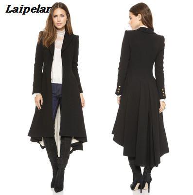 2018 Autumn and Winter New Woolen Coat Female Lapel Suit Cufflinks Folds Swallowtail Women s Woolen