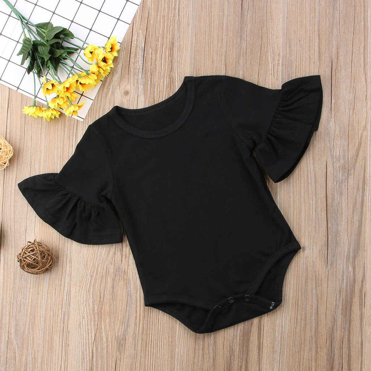 2019 nuevo bebé recién nacido bebé chica sólido monos ropa de manga acampanada mono Braga Casual trajes de algodón Mujer