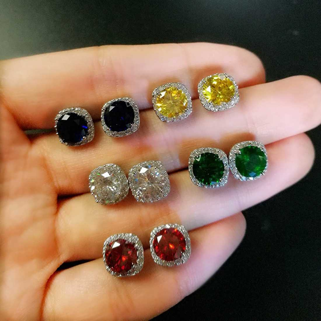 5 Color Blue Red Yellow Green White Big Zircon Stone Silver Stud Earrings for Women Fashion Jewelry Valentine's Day Gift
