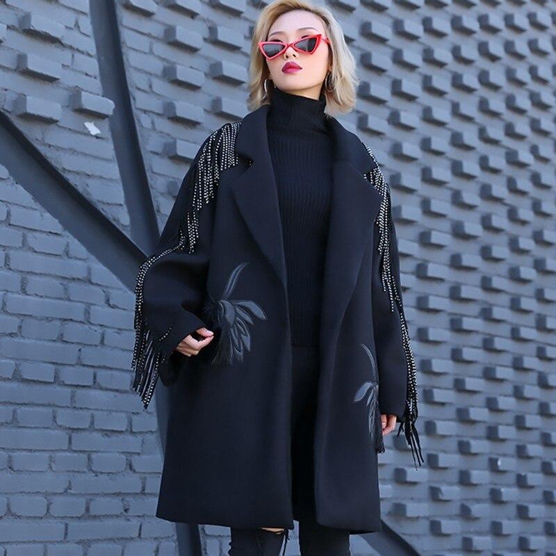 Manches Noir Nouveau Coton Jo018 Mode Black De Hiver Femmes Glands Printemps 2019 Longues Laine Manteau Parkas Revers eam rembourré Broderie 0w5xXqvfW