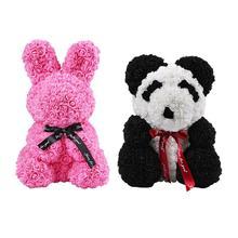 Искусственные цветы розы кролик Роза игрушечная панда игрушки подарок на день Святого Валентина ручной работы PE Роза для украшения день рождения любовные подарки