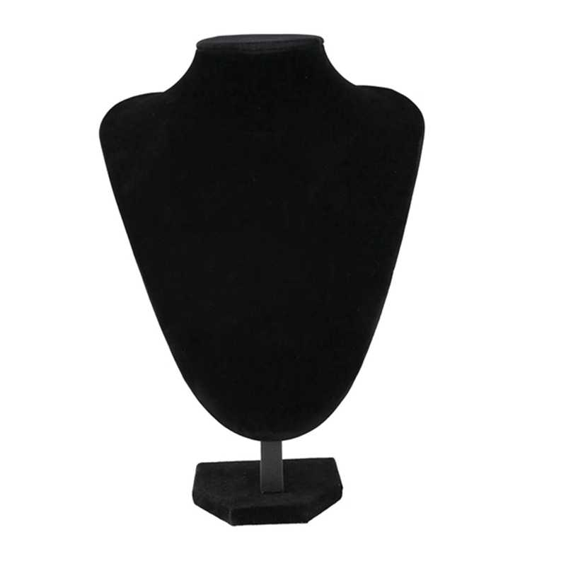 Velvet Necklace Pendant Chain Jewelry Bust Display Holder Stand Black 29*21cm