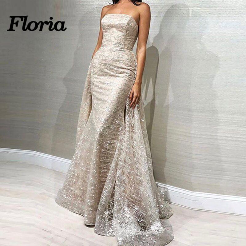 2019 Shiny Sliver Aibye   Evening     Dresses   Islamic Dubai Formal Prom   Dress   Abendkleider Robe de soiree Detachable Skirt Party Gowns