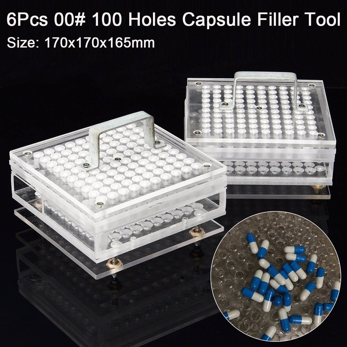цена на 6 Pcs 00# 0# 100Holes Manual Capsule Filler Capsule Filling Machine Tool 170x170x165mm