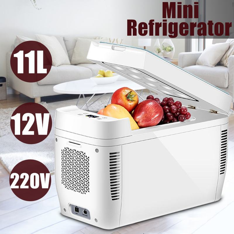 11L Portable Home Picnic Car Use Dual-core Refrigerators Mini Low Noise Car Refrigerators Freezer Cooling Box Fridge DC 12V 220V(China)