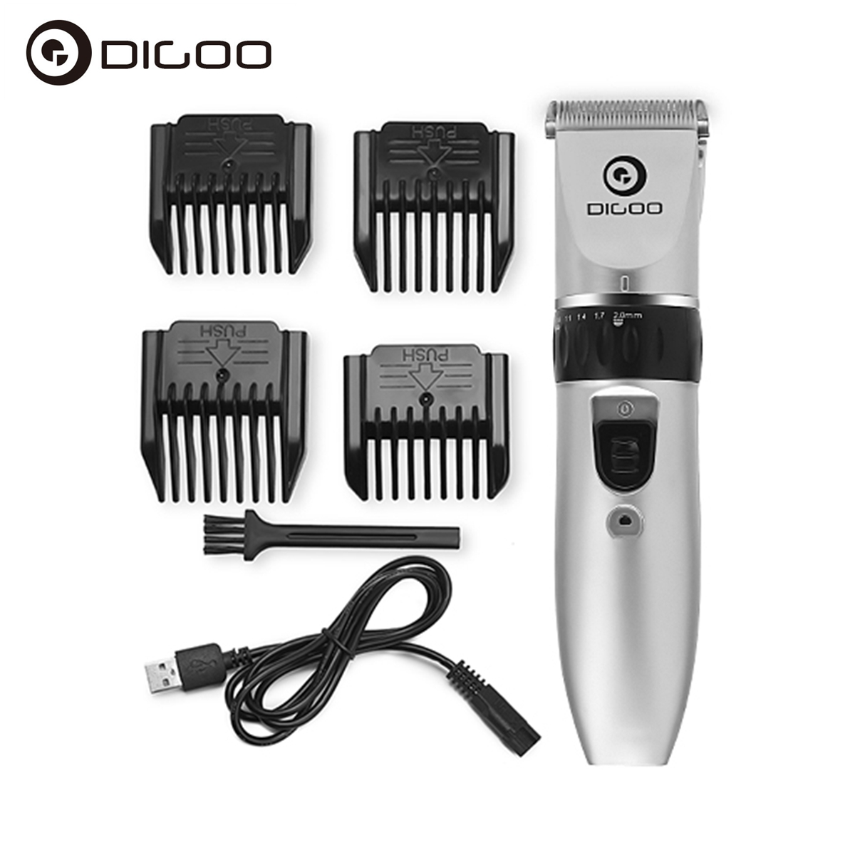 Digoo BB T1 USB Ceramic R Blade Hair Trimmer Rechargeable Hair Clipper 4X Extra Limiting Comb Silent Motor for Children Baby Men|Personal Care Appliance Accessories| |  - title=