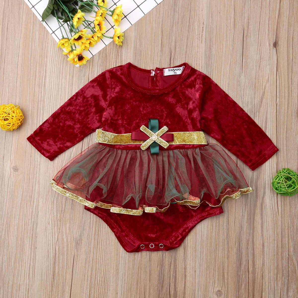 2019 г., новая брендовая Рождественская одежда принцессы для маленьких девочек, бархатные боди кружевное платье в стиле пэчворк с длинными рукавами, красный комбинезон из фатина