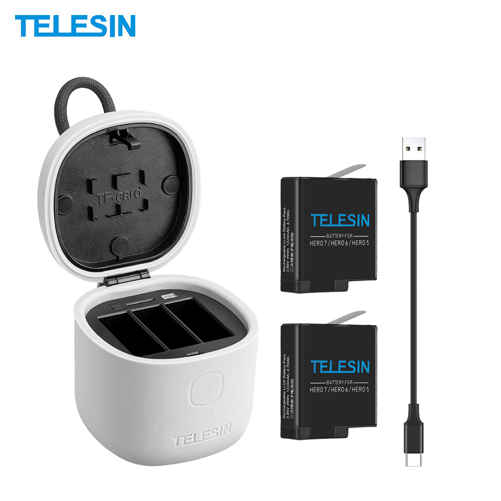 Portable TELESIN Allin Camera Battery Charger Box Case Set 2 Battery Storage Charger TF Card Reader