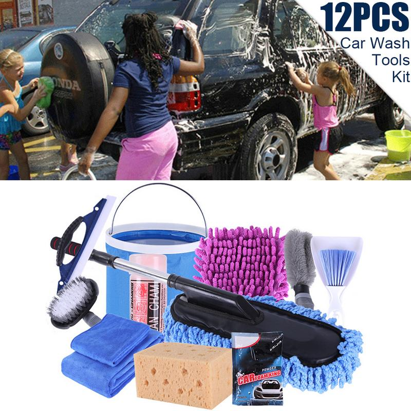 Car Cleaning Tools Kit 12PCs Car Wash Tools Kit Towel Mops Dust Removal Brush Car Cleaning Supplies Washing Tool|Sponges  Cloths & Brushes| |  - title=