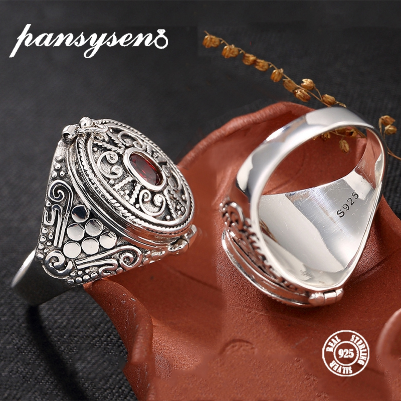 PANSYSEN New 100% Authentic 925 Sterling Silver Vintage Lock Flip Cover Finger Rings For Women Men Anniversary Jewelry Ring Gift