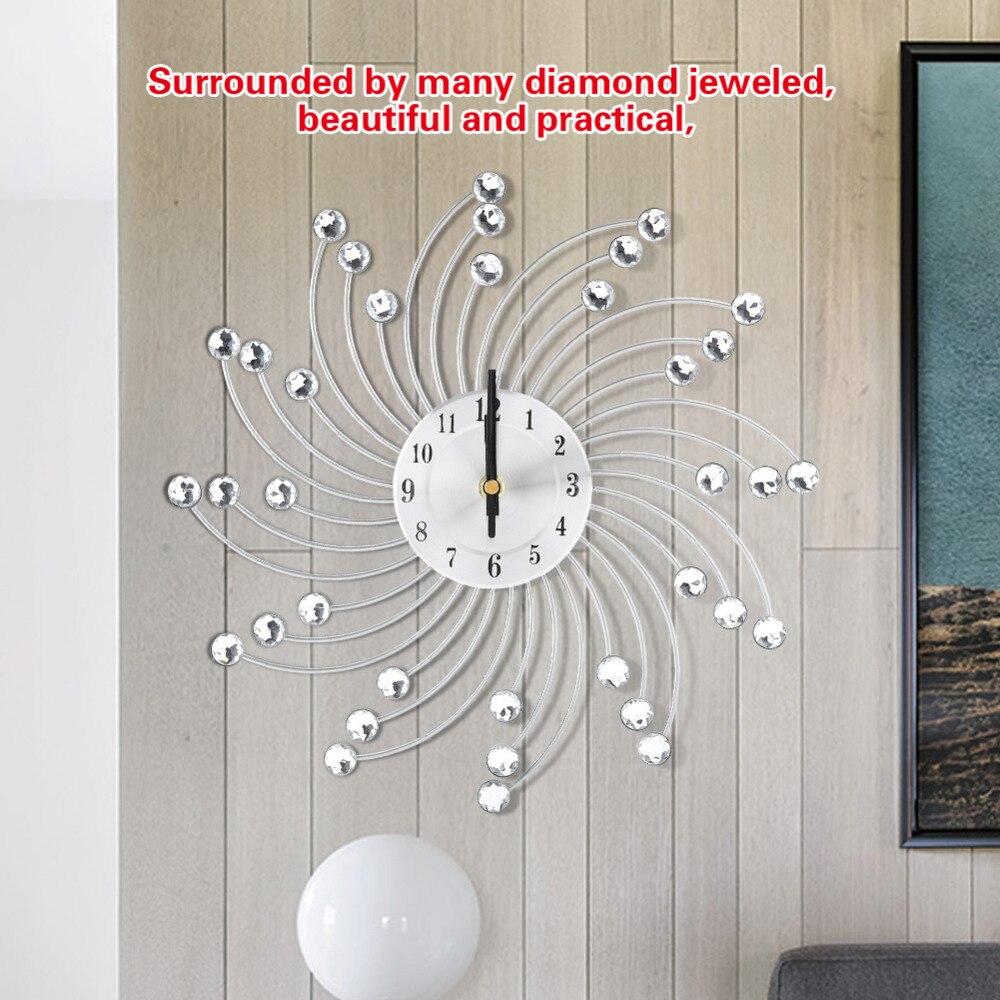 100% Kwaliteit Nieuwe Creatieve Wandklok Slaapkamer Wanddecoratie Mute Klokken Ornamenten Woonkamer Muur Gemonteerde Bloemvormige Metallic Klokken Te Koop