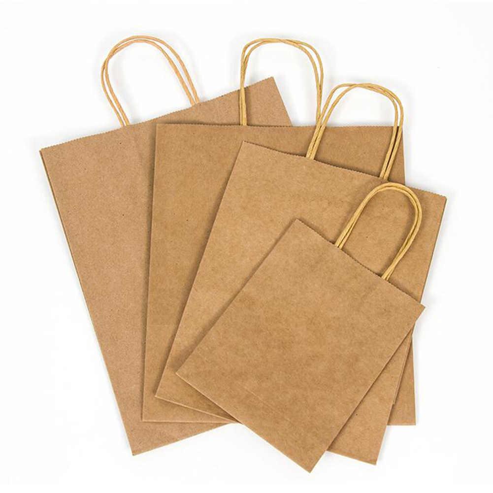Boodschappentassen Kraftpapier Sterke Solid Brown Twist Handvat Papier Party Gift Carrier Milieu Kleding Shopper Bag