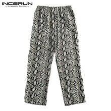INCERUN estampado de leopardo pantalones casuales para hombres de elástico  en la cintura de moda Pantalones 146eff7143ed