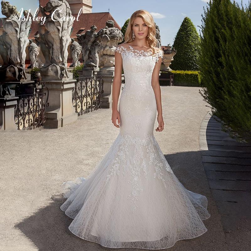 Ashley Carol Fashion Scoop Cap Sleeve Sexy Mermaid Wedding Dresses 2019 Lace Trumpet Bridal Dress Romantic