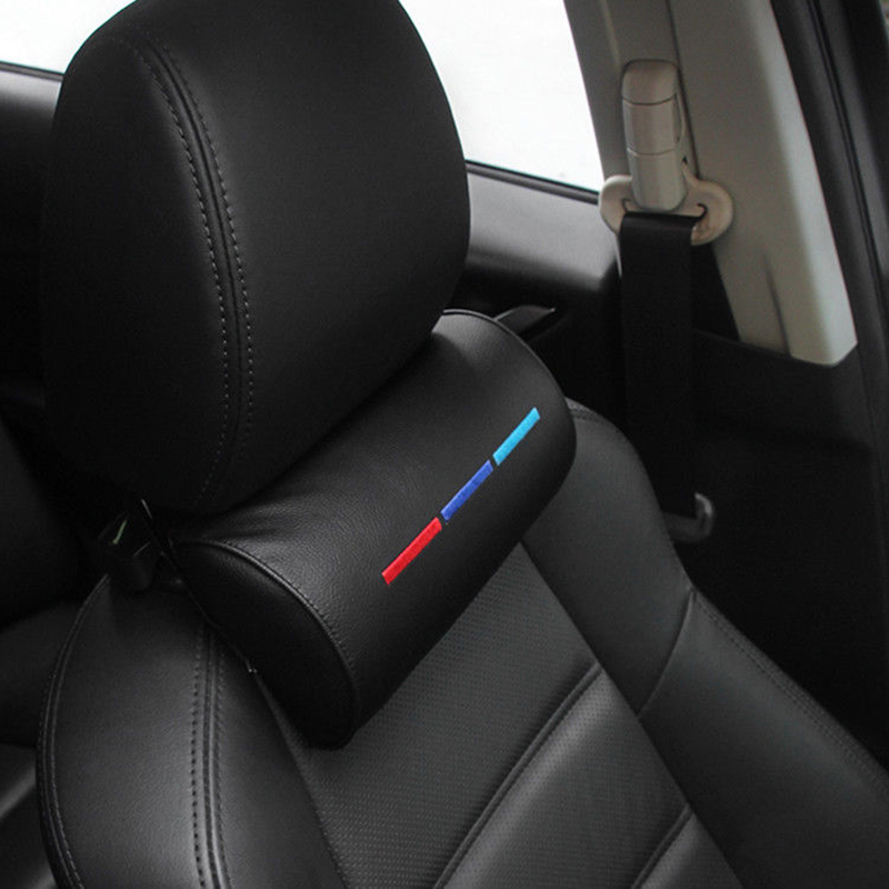Black Real Leather Car Seat Memory Foam Neck Rest Cushion Pillow Fit For BMW M