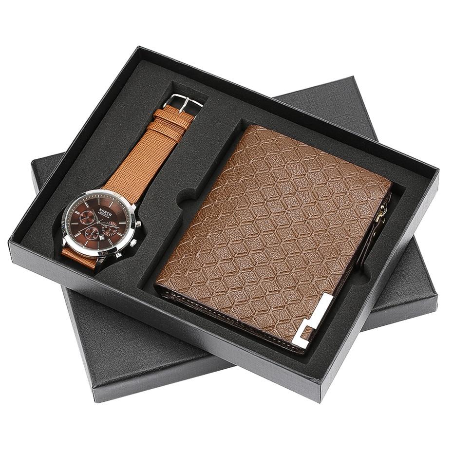 все цены на Luxury Watch Mens Quartz Wrist Watch Wallet Man Gift Set for Male Sport Casual Wrist Clock for Men Birthday Gifts reloj