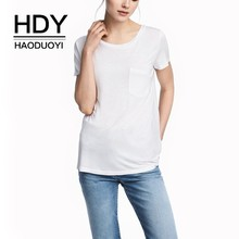 HDY Haoduoyi  2019 Summer T-shirt Girl Pure Color Simple Commuter Basic Chest Pocket Loose Round Neck T-shirt цена 2017