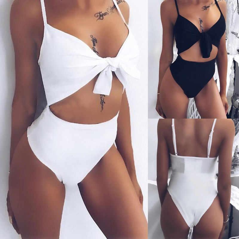 Сексуальный цельный купальник для женщин, белый, черный, на бретельках, танкини, боди, бикини 2019, купальник с высокой талией, купальный костюм для женщин