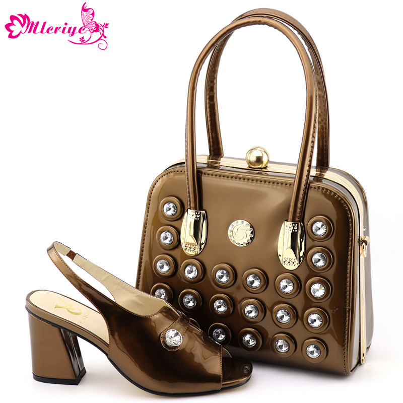 Latest Fashion Italian Shoes with Matching Bags 2019 Luxury Shoes Women Designers African Wedding Shoes and Bag Set Women Heels