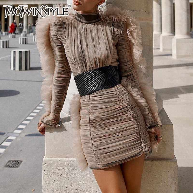 35305fbb966 TWOTWINSTYLE Evening Party Dress Female Turtleneck Puff Long Sleeve High  Waist Mini Dresses Women 2019 Spring