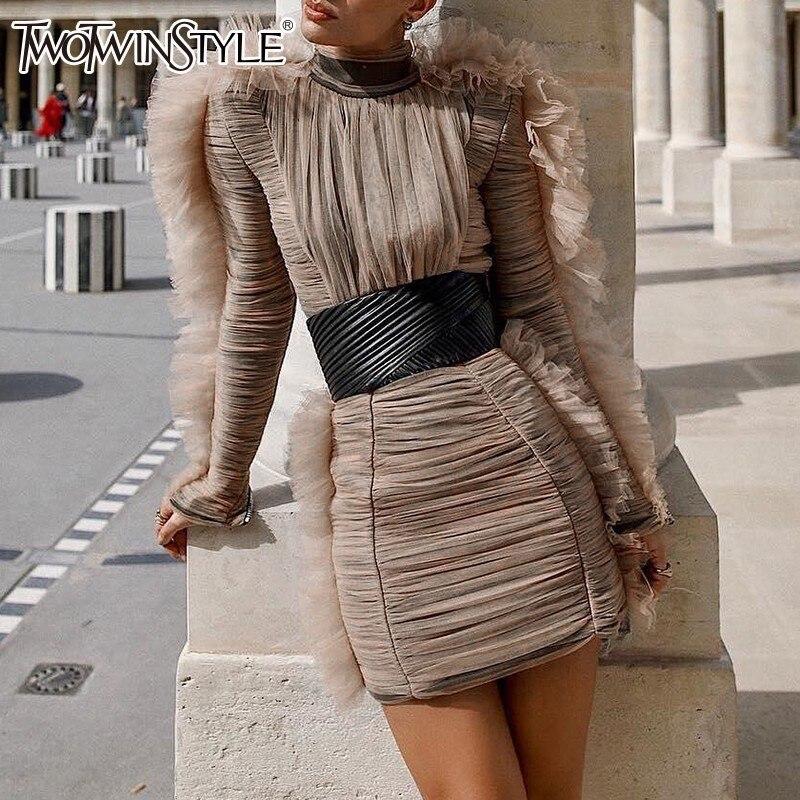 Deuxtwinstyle robe de soirée femme col roulé bouffée à manches longues taille haute Mini robes femmes 2019 printemps vêtements de mode