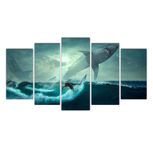 Artwork HD Prints Home Decoration 5 Pieces Brave surfer Wall Art Living Room Pictures Canvas Painting Cairnsi Free Shipping