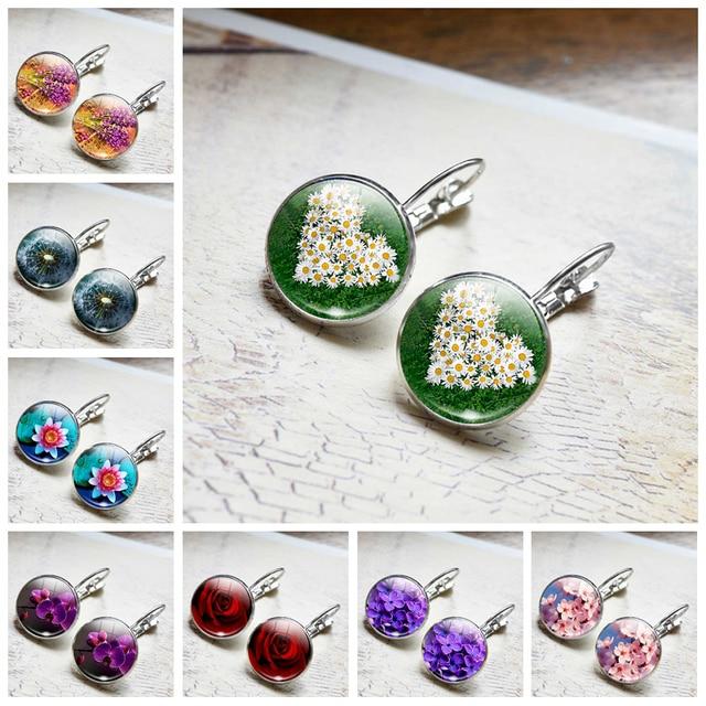 Daisy Rose Sakura Earrings Simple Style Flowers Earings Glass Cabochons Jewelry DIY Earring Women Lover Gifts Stud Earrings