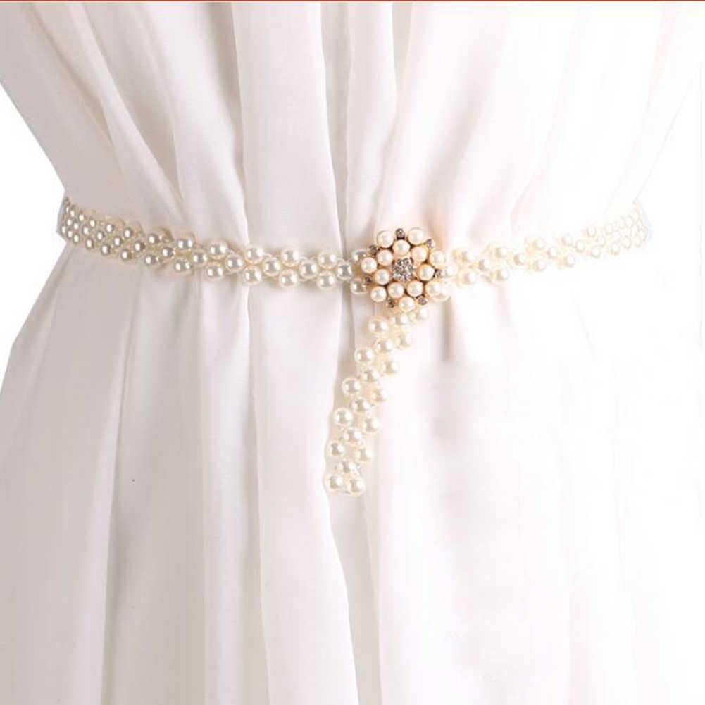 1 pc elegante mulheres pérola cinto cinto de cintura fivela elástica pérola cinto de corrente feminino meninas vestido de cristal cinta