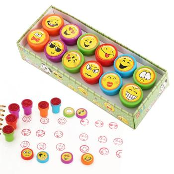 12pcs/Set Children Toy Stamps Cartoon Smiley Face Kids Seal For Scrapbooking Stamper DIY Painting Photo Album Decor