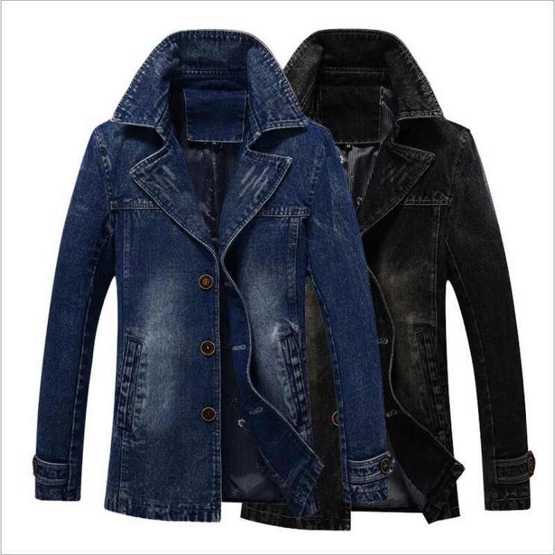 2019 Trench Coat Men Thick Long Cowboy Trench  Outwear Slim Single-Breasted Trench Coat Bomber  Cowboy Men's Denim Jacket