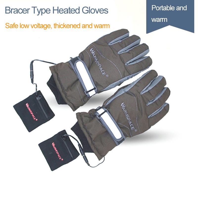 2019 Hand Back Warmer Heating Electric Gloves Rechargeable Gloves 4 Hours Skiing Waterproof Windproof Heated Gloves Skiing Gloves     - title=