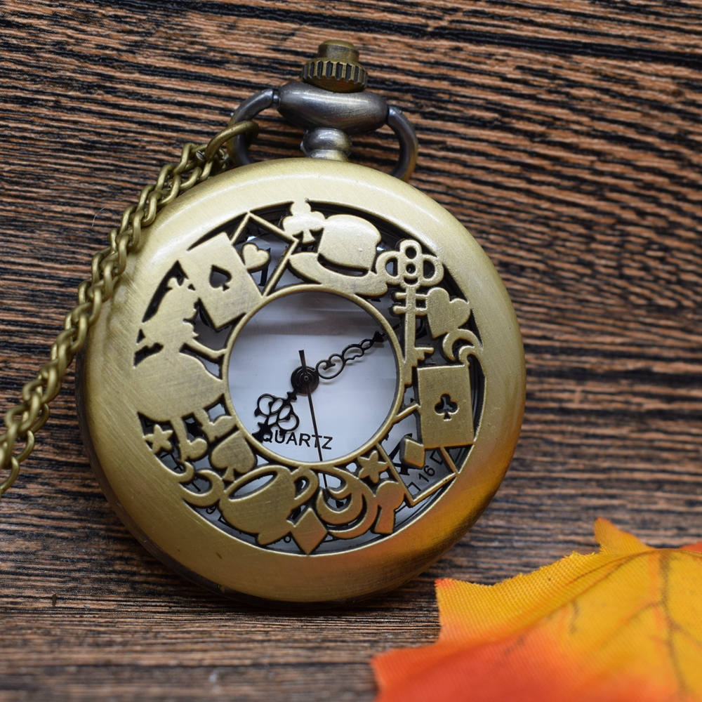 Pocket & Fob Watches  Bronze Alice in Wonderland Theme  Quartz Pocket Watches Vintage Fob Watches  Gift for Men/Women