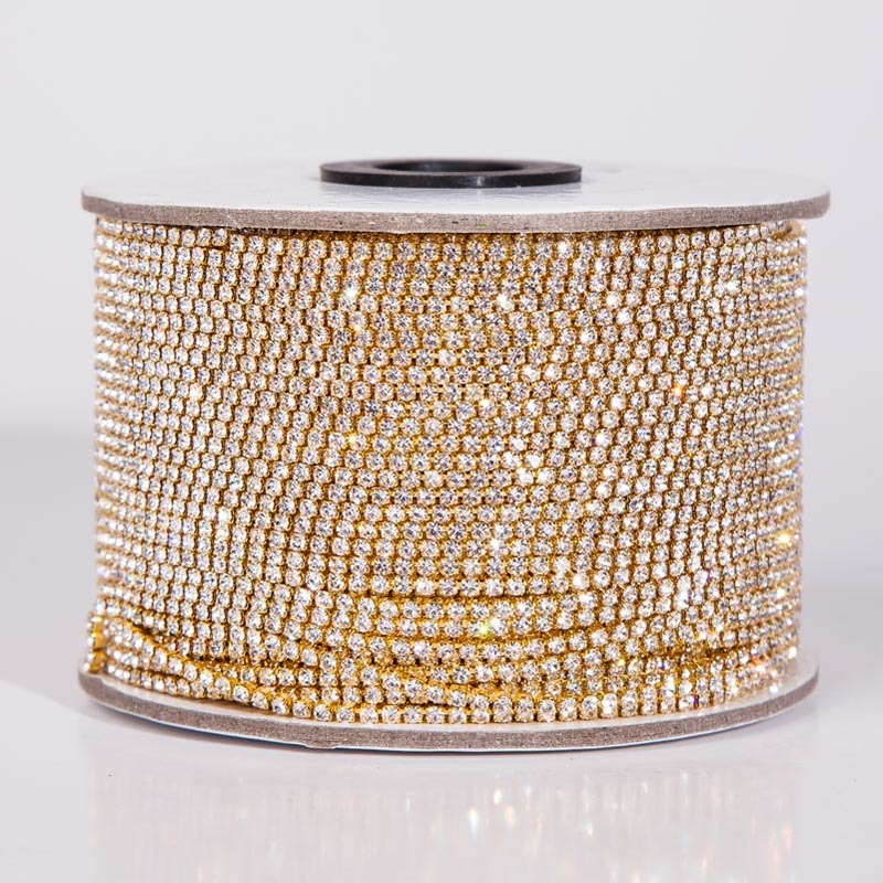 Taidian SS8 Crystal Rhinestone Banding Metal Cup Chain For Jewelry Finding  Ss6 Ss8 10yard/lot