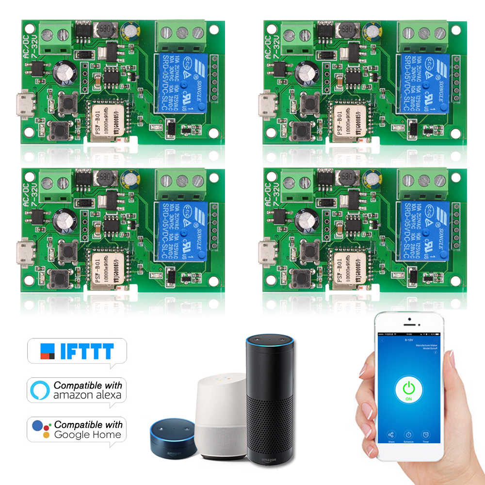 DC5V 12V 24V 32V Wifi commutateur sans fil relais Module télécommande minuterie commutateur pour Alexa Google Home Inching/autobloquant
