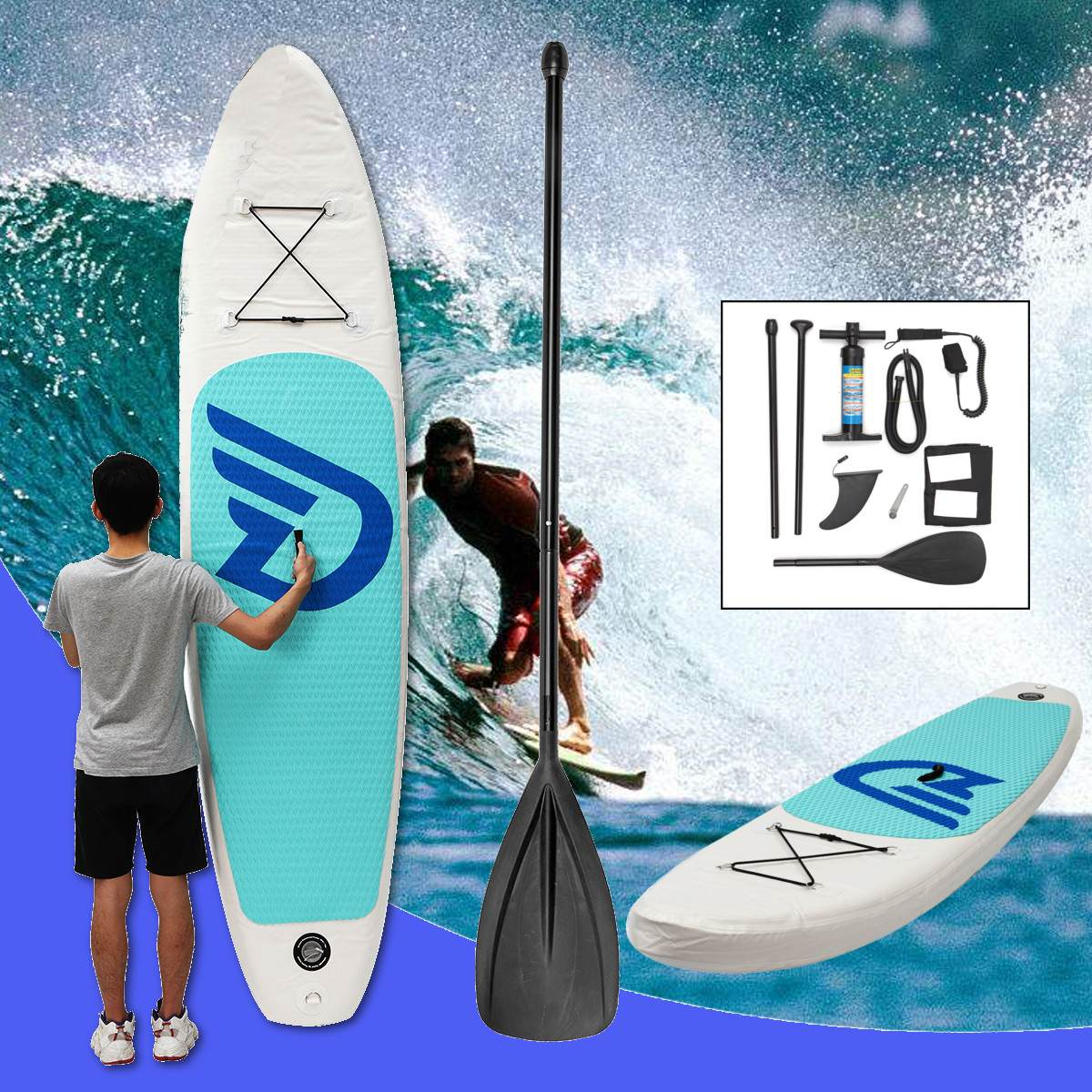 EVA PVC 10ft Surf Paddle Board Gonflable planche de Surf Stand Up Pompe À Eau Pied Laisse Plage Océan Body-Board Sports Nautiques