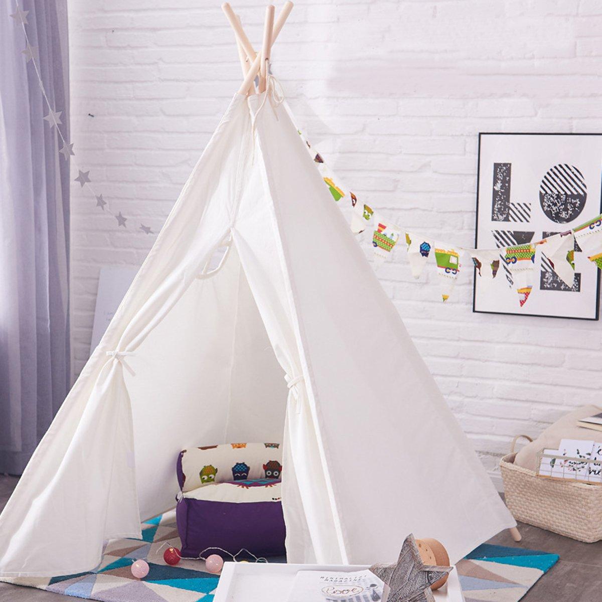 120x120x150 cm blanc toile enfant tipi Portable pliant extérieur château tente indien Triangle tente enfants maison jeu jouet tente