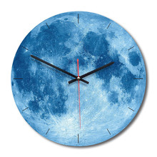 New 3D Wall Clock Decorative Moon Acrylic  Modern Design For Living Room 28cm Silent Movement Watch Dropshipping