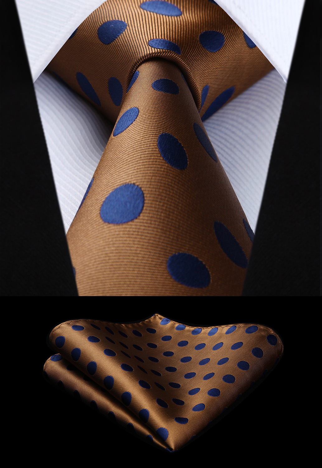 New Polka Dot Brown Blue Color Mens Tie Woven Silk Necktie Handkerchief Set TD201Z8S