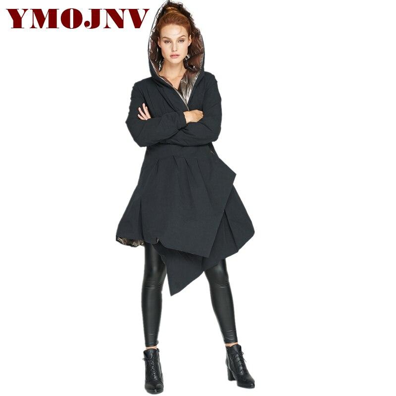 YMOJNV 2018 D'hiver de Parka Nouveau Design Façonné Femmes Lumineux Manteau Épaississement Double-face Portant Capuche Doudoune Femme