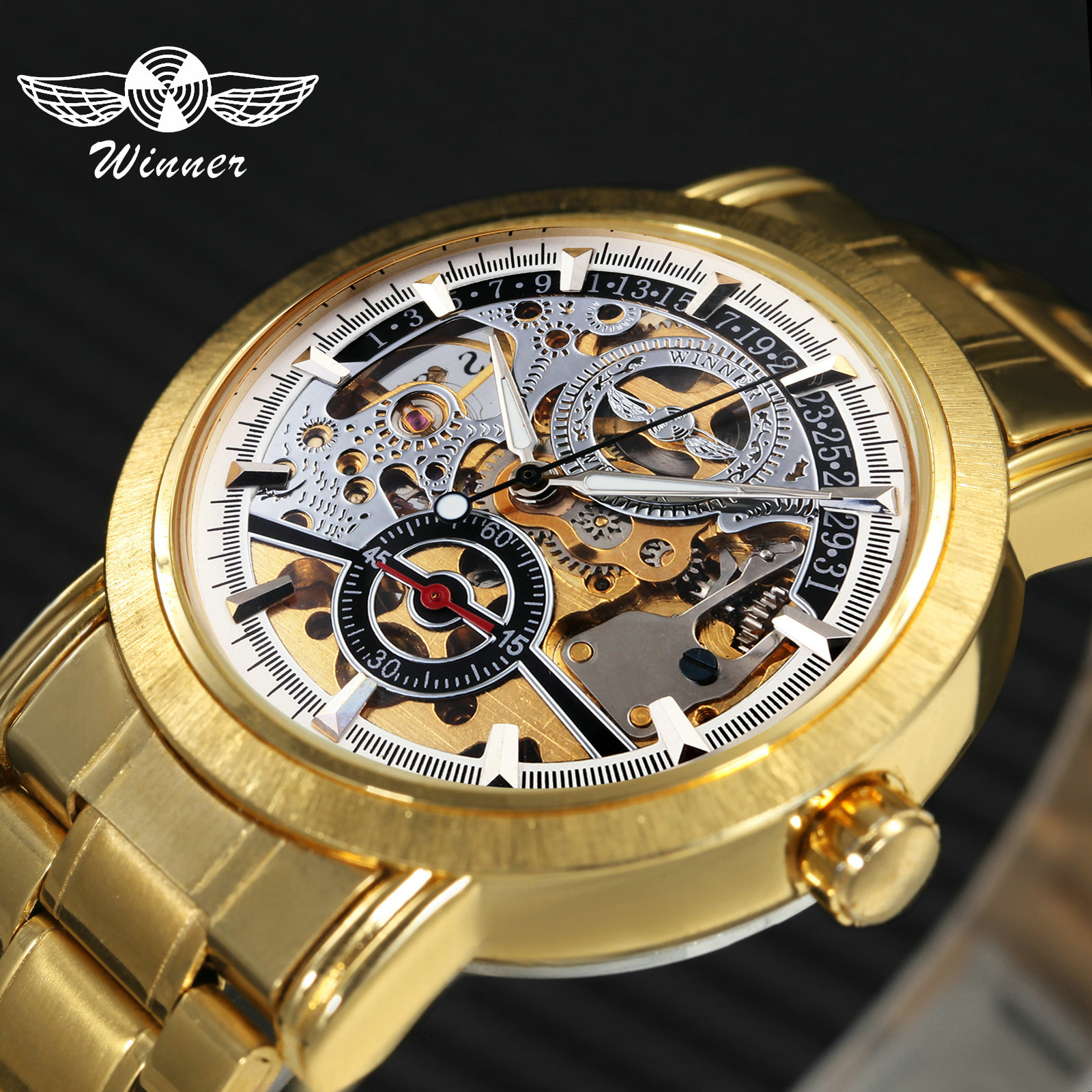 Men's Watches Bright 2019 Winner Classic Golden Skeleton Mechanical Watch Men Leather Strap Top Brand Luxury Man Business Vip Drop Shipping Wholesale
