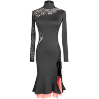 long sleeves lace latin dance dress women samba costumes latin dress women tassel latin salsa dress latin competition dress