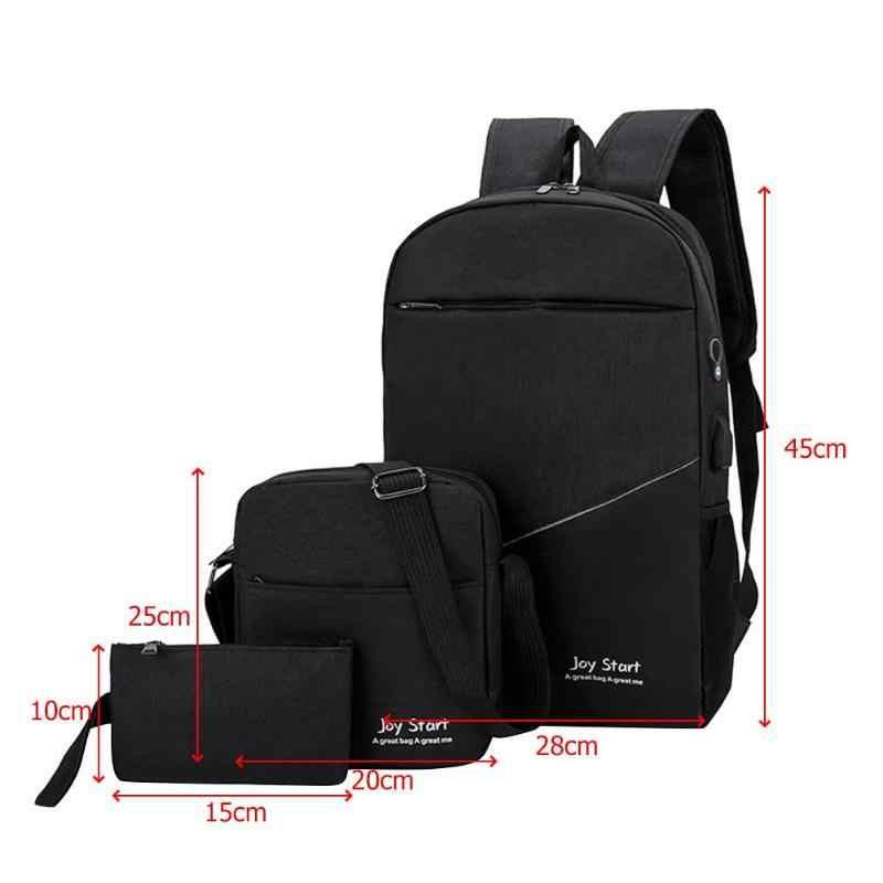2ce93a7a435d ... 3pcs set Womens Mens Backpacks Bags Unisex Travel Nylon Purse Shoulder  School Bags Clutch Solid
