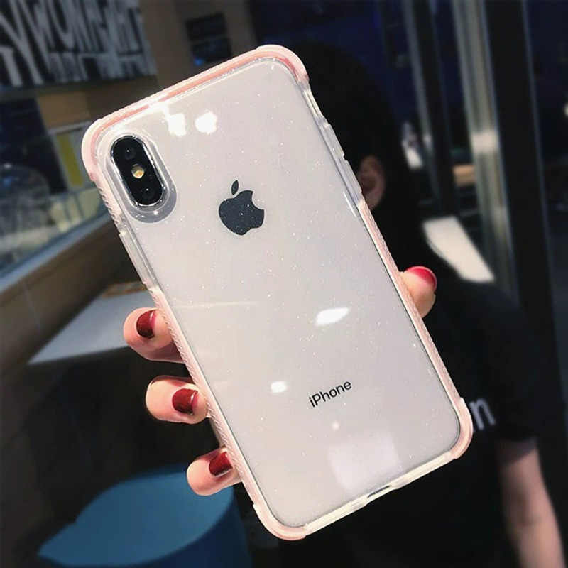 USLION блестящий порошок чехол для телефона iPhone XS Max XS X противоударный прозрачный мягкий, ТПУ, с блестками чехол для iPhone 7 6 S 8 Plus чехол