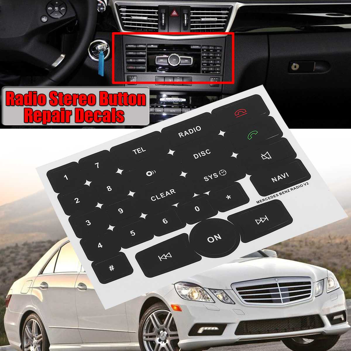 Black Car Media Radio Stereo Button Repair Decals Stickers For Mercedes For Benz Radio V2 Repair Car Stickers Fix Ugly Button