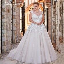 Ashley Carol Plus Size Wedding Dress V-neck Sweep Train