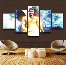 Canvas Wall Art Modular Picture Framework Modern Decorative 5 Pieces Sports Cristiano Ronaldo HD Printed Boys Room Poster