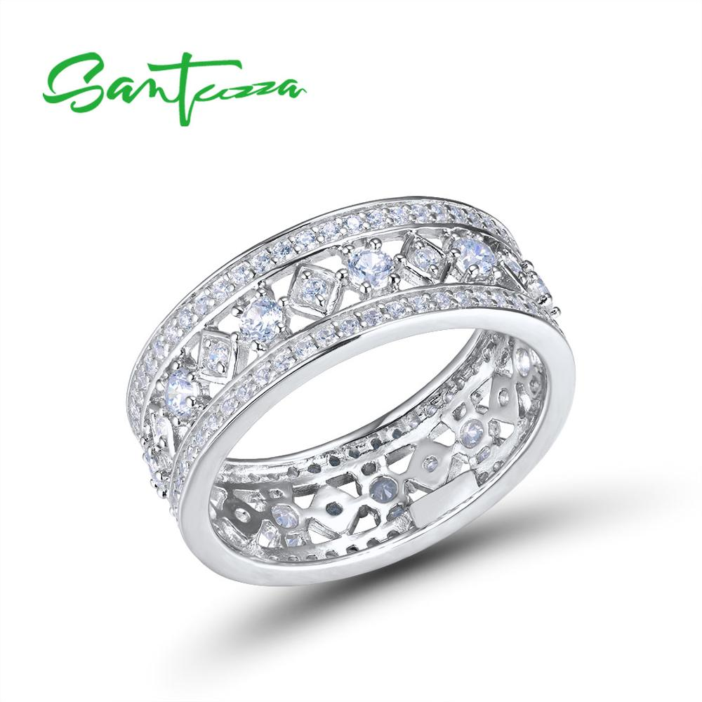 SANTUZZA Silver Engagement Ring For Women Genuine 925 Sterling Silver Wedding Ring Shiny Cubic Zirconia Party Fashion Jewelry-in Rings from Jewelry & Accessories